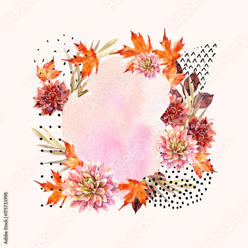 Photo sur Toile Empreintes Graphiques Autumn watercolor floral arrangement