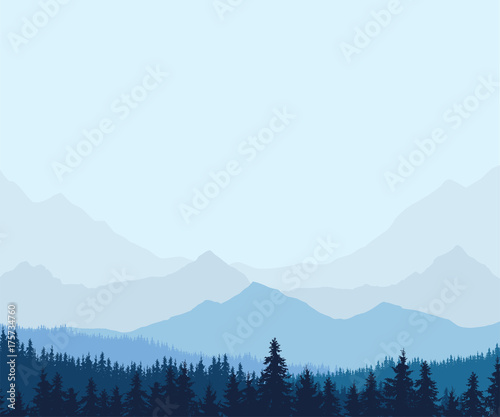 Panoramic view of winter mountain landscape with forest and with space for text, vector
