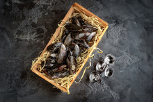 Raw Mussels For Cooking In A Basket