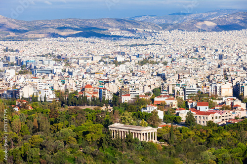 Plakat Ateny lotnicze panoramiczny widok