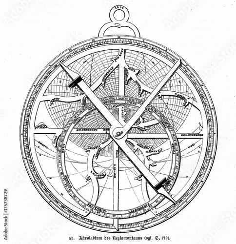 Astrolabe, designed by german astronomer Regiomontanus (from Spamers Illustriert Wallpaper Mural