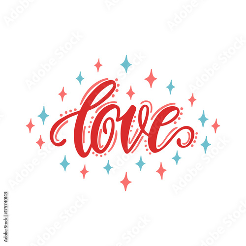 Fotografia  1554468 Love. Hand drawn lettering design.