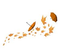 Leaves Ubrellas Autumn Backgro...
