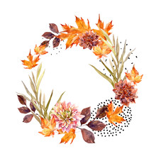 Autumn Watercolor Wreath On Sp...