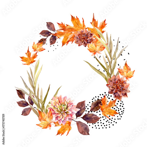 Deurstickers Grafische Prints Autumn watercolor wreath on splash background with flowers, leaves, doted circles.