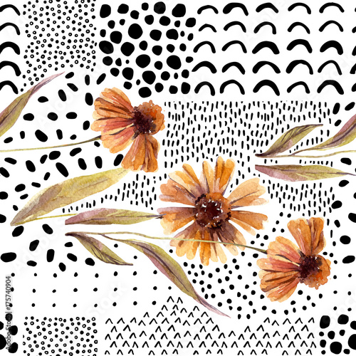 Poster Graphic Prints Autumn watercolor flowers on doodle background.