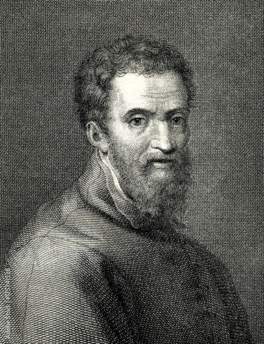 Fotografía  Portrait of Michelangelo, italian sculptor and painter, by Giorgio Vasari (from