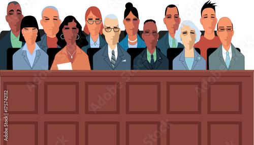 Fotografía 12 jurors sit in a jury box at a court trial, EPS 8 vector illustration