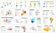 Vector map infographic. Slide presentation. Global business marketing concept. Color country. World transportation geography data. Economic statistic template. World, America, Africa, Europe, Asia