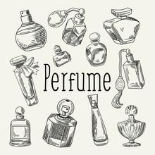 Perfume Bottles Hand Drawn Doo...