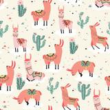 Happy lama seamless pattern - 175744192