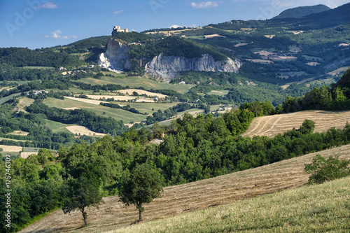Spoed Foto op Canvas Nachtblauw Landscape in Romagna at summer:, view of San Leo