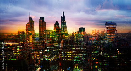 Poster London City of London, business and banking aria. London's panorama in sun set. View from the St. Paul cathedral