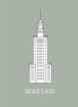 Simple Minimalistic Illustration Of Warsaw's Palace Of Culture And Science (Palac Kultury I Nauki W Warszawie)