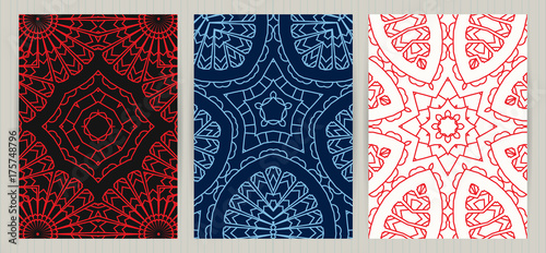 Set of ethnic covers hand drawn patterns colorful backgrounds set of ethnic covers hand drawn patterns colorful backgrounds vector templates for restaurant colourmoves