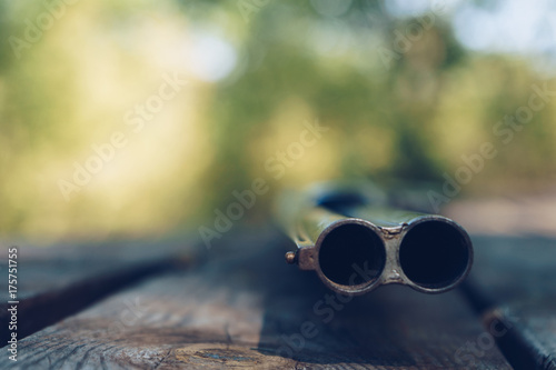 Foto op Canvas Jacht Close up of double barrel of hunting gun
