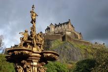 Edinburgh Castle And The Ross Fountain.