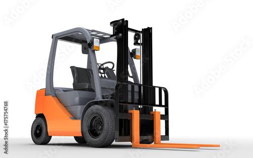 Plakat 3d renderingu forklift ciężarówka odizolowywająca na białym tle. Przedni widok