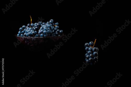 Bunch of fresh red grapes splash fruit, grocery, harvest