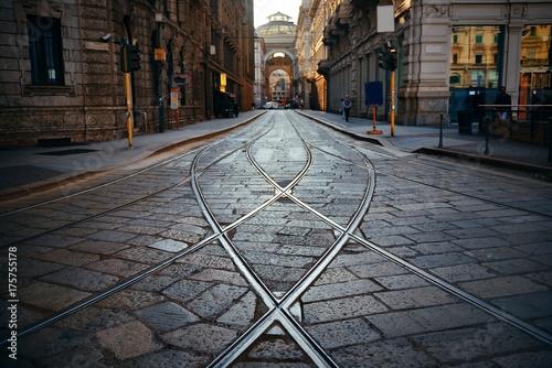 Foto auf AluDibond Milan Tram track in Milan Street