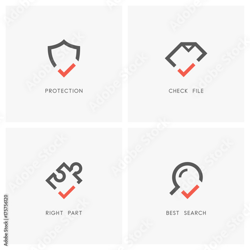 Check mark logo set  Shield, document or file, magnifier or loupe