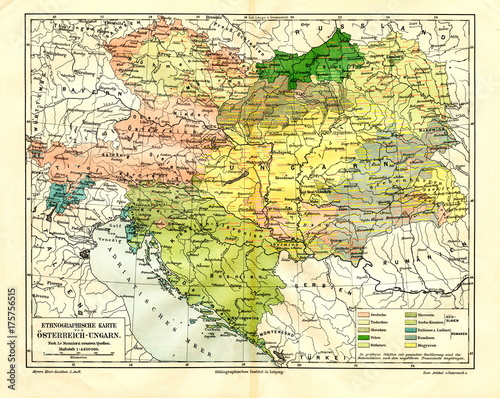 Fotografie, Obraz Ethnographic map of Austria-Hungary (from Meyers Lexikon, 1896, 13/288/289)
