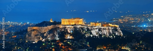 Tuinposter Oude gebouw Athens skyline with Acropolis night