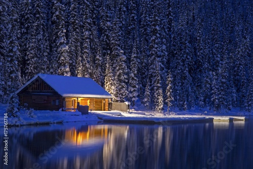 Night View of Lake Louise Canoe Rental Log Cabin in Winter Wallpaper Mural