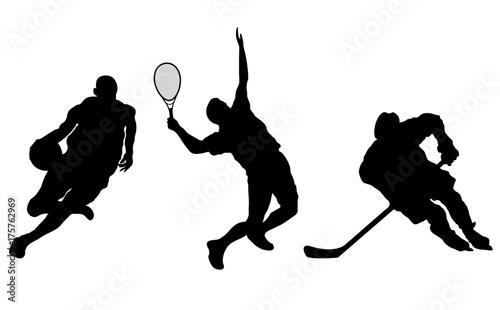 Photo  basketball tennis hockey players