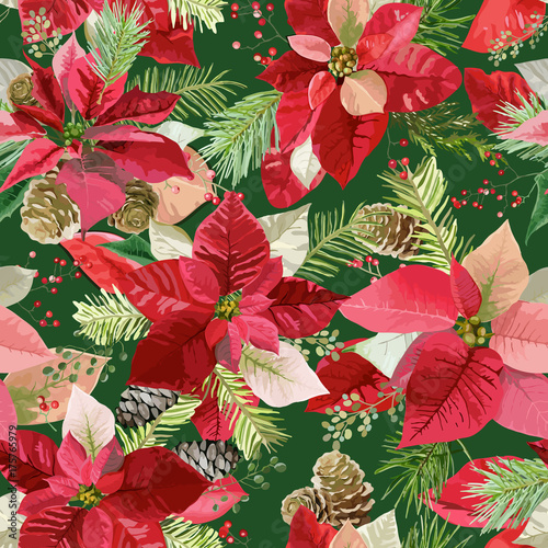 christmas-winter-poinsettia-flowers-seamless-background-floral-pattern-print-in-vector
