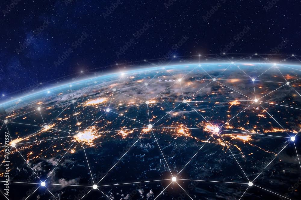 Fototapety, obrazy: Global telecommunication network, nodes connected around earth, internet, worldwide communication