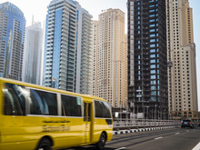 School Bus In Motion In Dubai,...