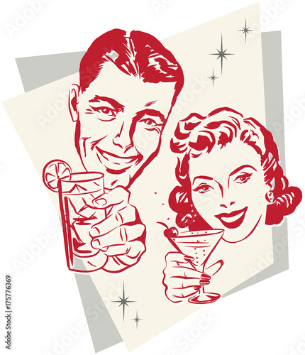 Smiling 1950s couple raising a toast with cocktail glasses Wallpaper Mural