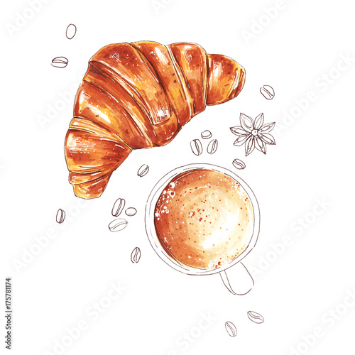 Fototapeta Breakfast with coffee and croissant, hand drawn illustration obraz
