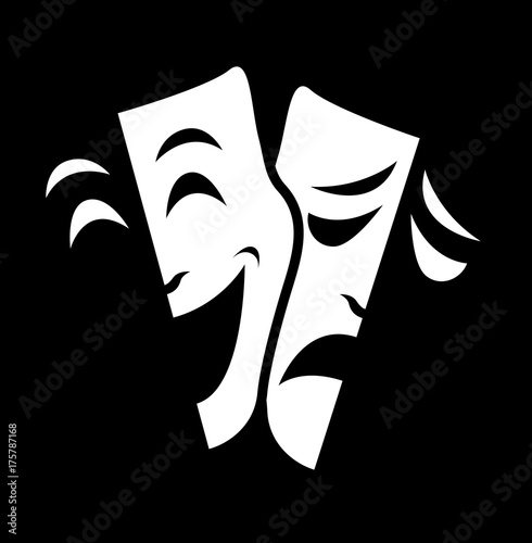 Fotografie, Obraz theater mask symbols vector set, sad and happy concept