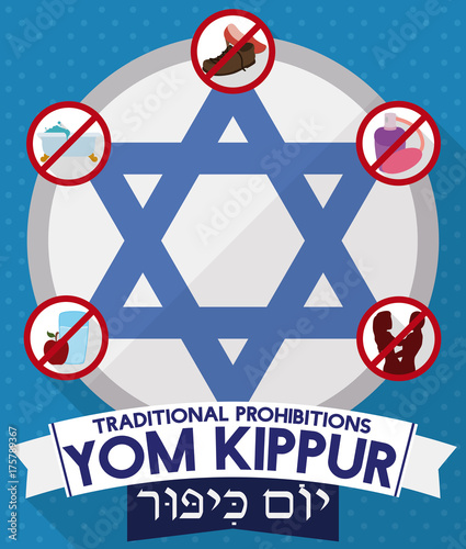 Davids star with prohibitions and greeting ribbons for yom kippur davids star with prohibitions and greeting ribbons for yom kippur vector illustration m4hsunfo