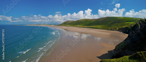 Photo Elevated view of Rhossili Bay in the Gower Peninsular, Wales, UK