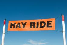 A Hay Ride Sign At A Pumpkin P...