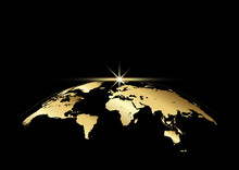 Earth And Ray With Golden Color On Black For Decoration Background
