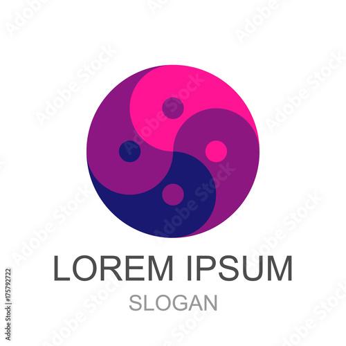 Fotografie, Obraz  Dark blue and pink Yin Yang logo design - Eps10 vector graphics and illustration