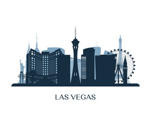 Las Vegas Skyline, Monochrome Silhouette. Vector Illustration.