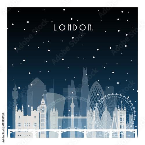 Zimowa noc w Londynie. Nocy miasto w mieszkanie stylu dla sztandaru, plakata, ilustraci, gry, tła.