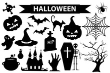 Happy Halloween Icons Set, Bla...