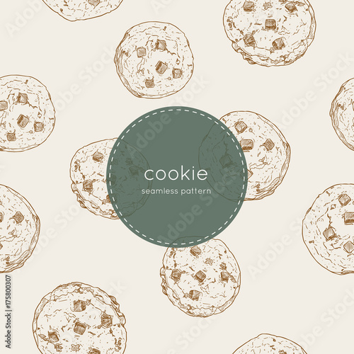 chocolate chip cookie., seamless pattern vector. Canvas Print