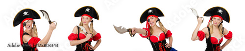 Woman pirate isolated on white Wallpaper Mural