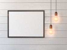 Mock Up White Blank Poster Or Photo On Wall And Vintage Light Bulbs.