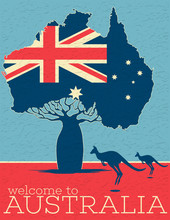 Welcome To Australia Vintage Poster