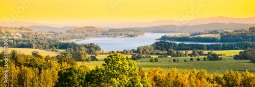 Canvas Prints Melon Autumn landscape at Lipno water reservoir, Sumava National Park, Southern Bohemia, Czech Republic.