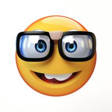 Nerd Emoji Isolated On White B...