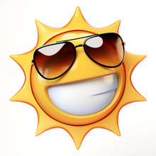 Cartoon Sun With Sunglasses Em...